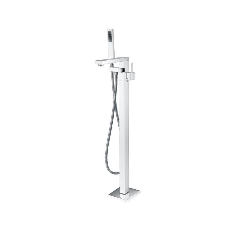 MTD DF-02011 EILAT 2011 SINGLE HANDLE FLOOR MOUNT TUB FILLER WITH HAND SHOWER IN POLISHED CHROME