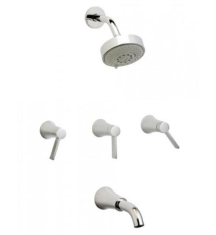 PHYLRICH K2811 FILLMORE WALL MOUNT THERMOSTATIC TUB AND SHOWER SET WITH TWO LEVER HANDLES