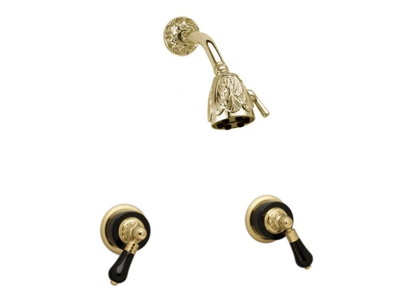 PHYLRICH K3244 VERSAILLES WALL MOUNT SHOWER SET WITH TWO FRIENZE BLACK ONYX LEVER HANDLES