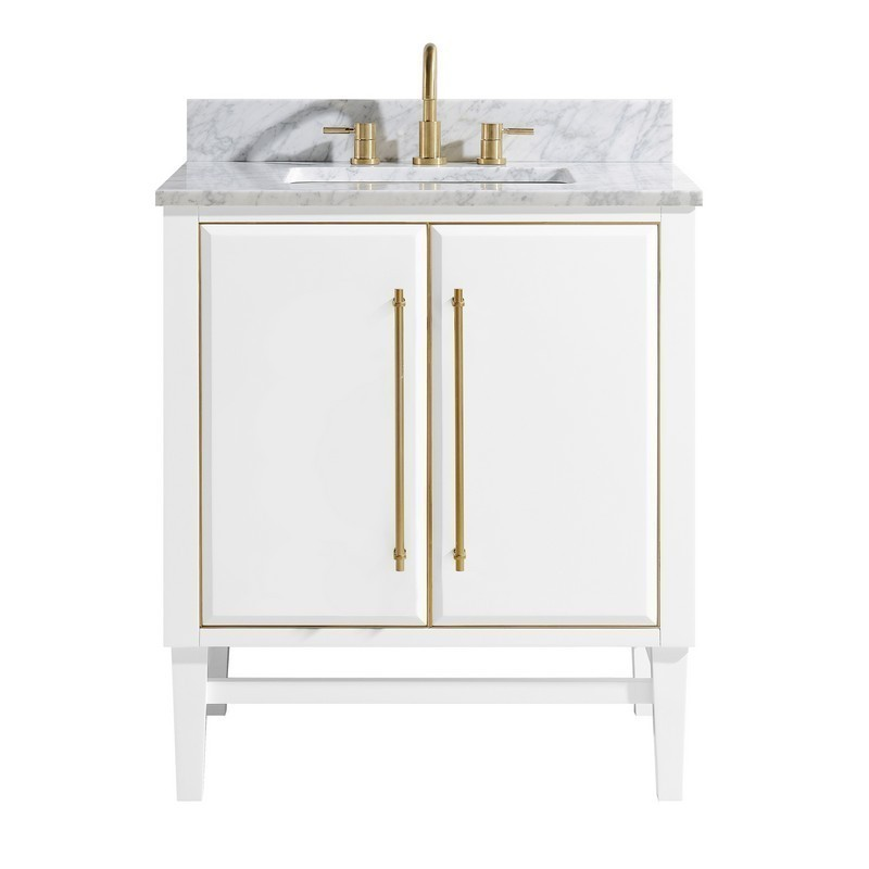 AVANITY MASON-VS31-WTG-C MASON 31 INCH VANITY COMBO IN WHITE WITH GOLD TRIM AND CARRARA WHITE MARBLE TOP