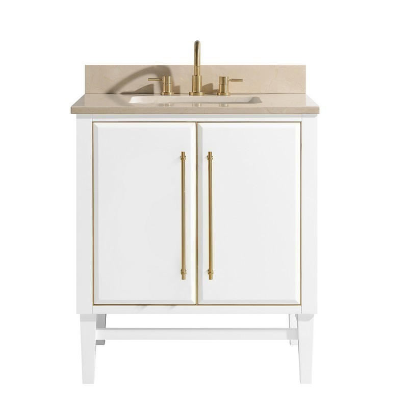 AVANITY MASON-VS31-WTG-D MASON 31 INCH VANITY COMBO IN WHITE WITH GOLD TRIM AND CREMA MARFIL MARBLE TOP
