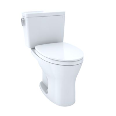 TOTO MS746124CEMG#01 DRAKE TWO-PIECE ELONGATED DUAL FLUSH 1.28 AND 0.8 GPF DYNAMAX TORNADO FLUSH TOILET WITH CEFIONTECT AND SOFTCLOSE SEAT, WASHLET+ READY IN COTTON WHITE