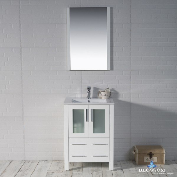 Blossom 001 24 01 Sydney Inch Vanity Set With Mirror In Glossy White