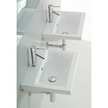 Althea 30382-One Hole Clever 20 Inch White Ceramic Bathroom Sink - Designer and Self Rimming