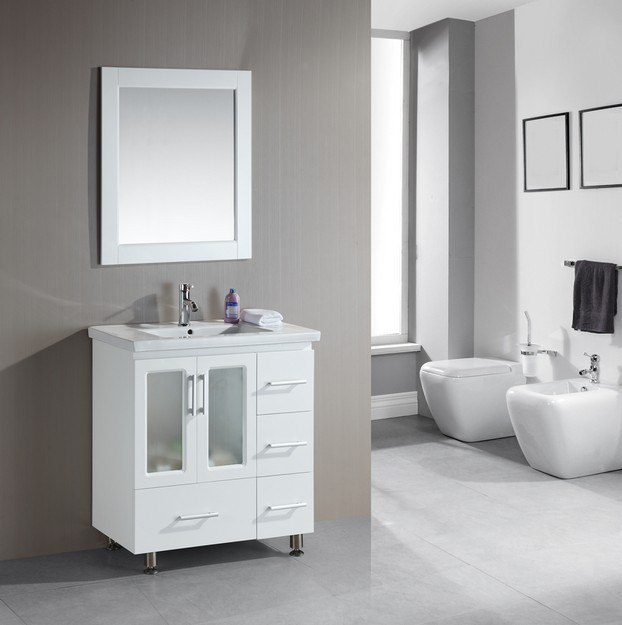 Design Element B30-DS-W Stanton 32 Inch Single Sink Vanity Set with Drop-in Sink in White