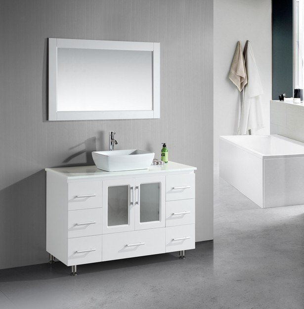 DESIGN ELEMENT B48-VS-W STANTON 48 INCH SINGLE SINK VANITY WITH VESSEL SINK IN WHITE
