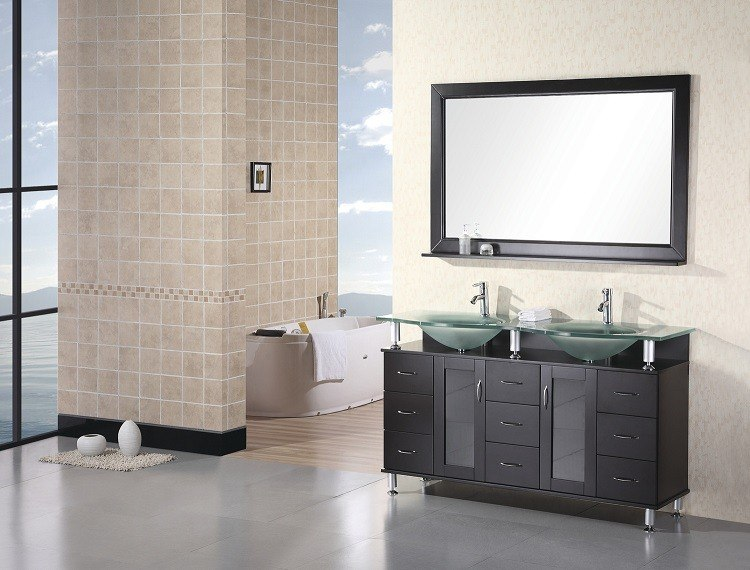 Design Element DEC015D Huntington 60 Inch Double Sink Vanity Set in Espresso