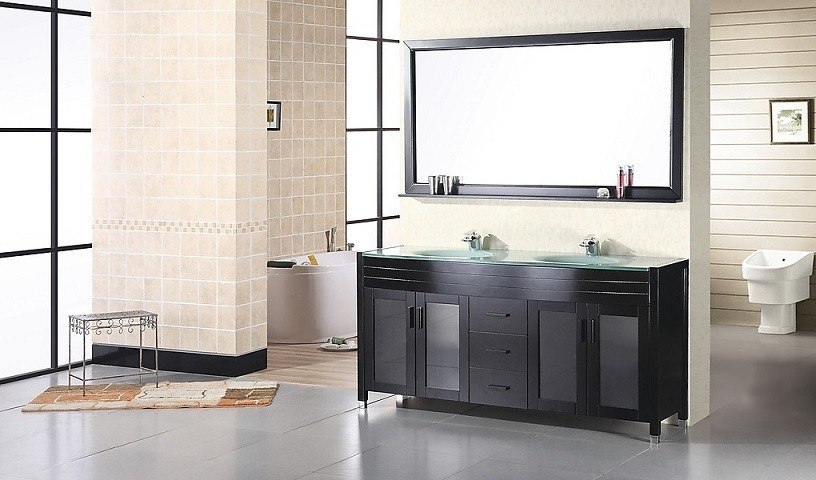 Design Element DEC016A Waterfall 60 Inch Double Sink Vanity Set in Espresso