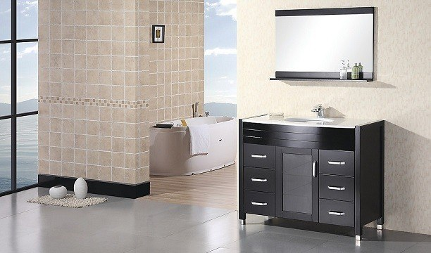 Design Element DEC017-W Waterfall 48 Inch Single Sink Vanity Set w/ White Top