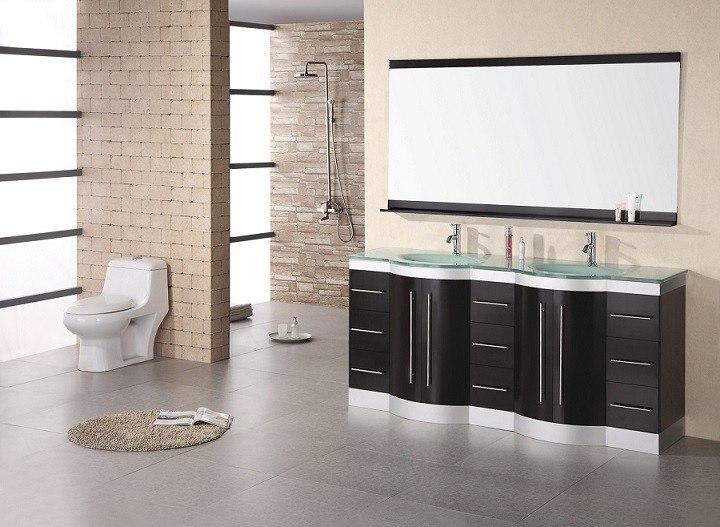 Design Element Dec023 Gtp Jade 72 Inch Double Sink Vanity In Espresso With Glass Top