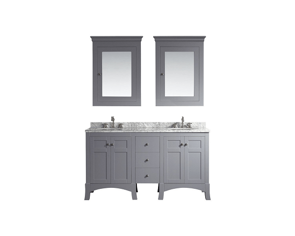 Eviva EVVN514-60GR  New York 60 Inch Grey Bathroom Vanity, with White Marble Carrera Counter-top and Sink