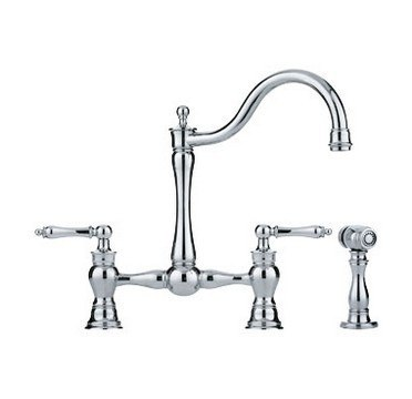 Franke FF7000A Bridge Faucet w/ Matching Side Spray & Generic Handle