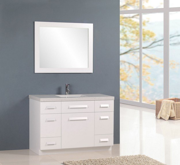 DESIGN ELEMENT J48-DS-W MOSCONY 48 INCH SINGLE SINK VANITY IN WHITE