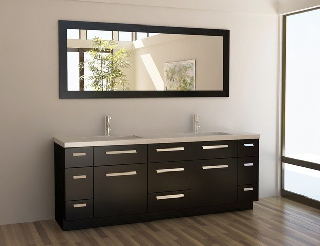 Design Element J84-DS Moscony 84 Inch Double Sink Vanity Set in Espresso