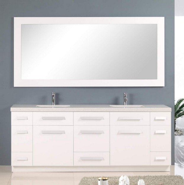 Design Element J84-DS-W Moscony 84 Inch Double Sink Vanity Set in White