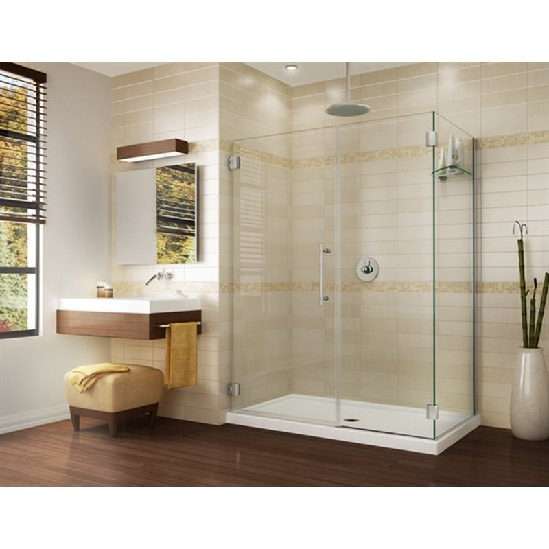 FLEURCO PGKR4836-40-79 KARA 48 W X 25 D X 79 H INCH 2-SIDED DOOR AND FIXED PANEL WITH 36 INCH RETURN PANEL, GLASS SHELF SUPPORT AND 3/8 INCH CLEAR GLASS