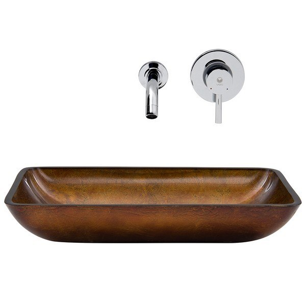 Vigo Vgt302 Rectangular Russet 22 1 4 Inch Glass Vessel Sink And Wall Mount Faucet Set In Chrome