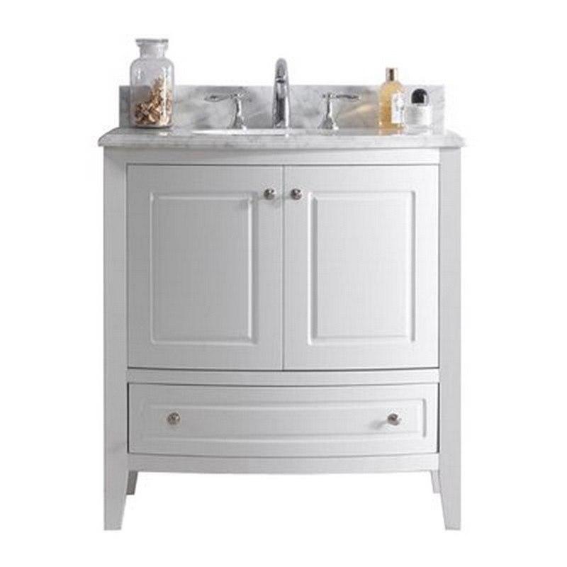 LAVIVA 3130709-32W-WC ESTELLA 32 INCH WHITE CABINET WITH WHITE CARRARA COUNTERTOP