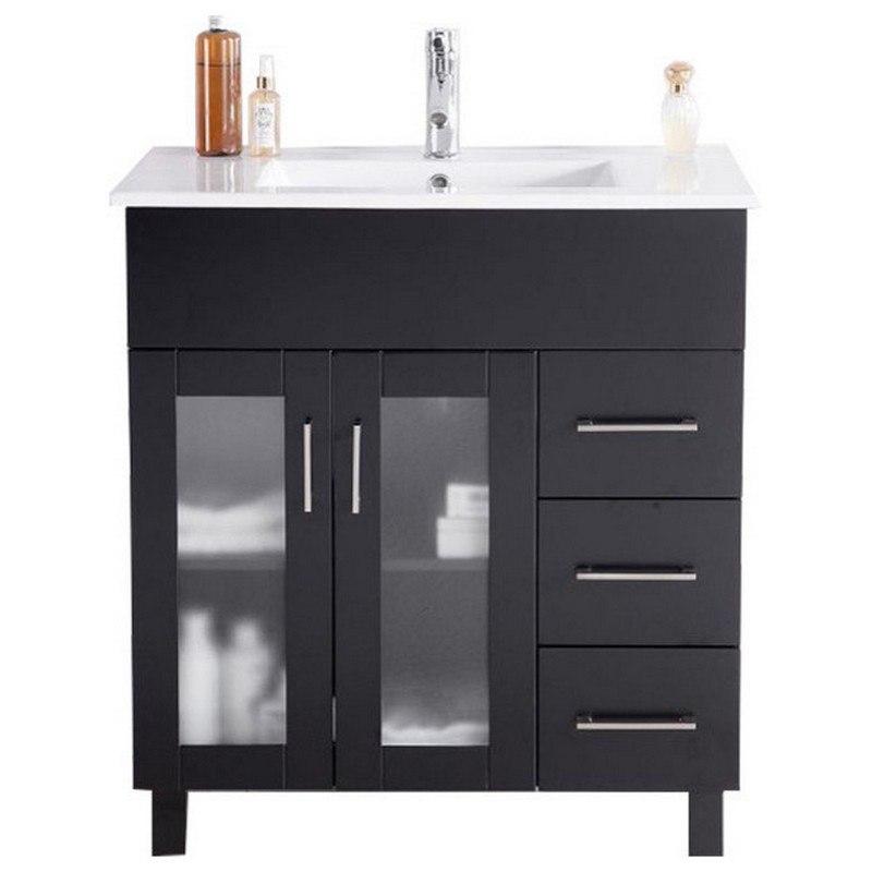Laviva 31321529 32e Cb Nova 32 Inch Espresso Cabinet With Ceramic Basin Countertop