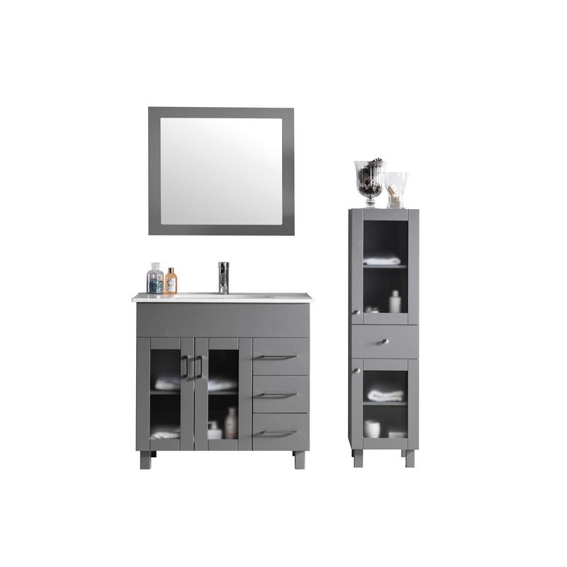 LAVIVA 31321529-36G-CB NOVA 36 INCH GREY CABINET WITH CERAMIC BASIN COUNTERTOP