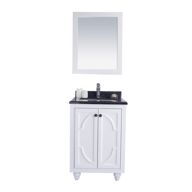 LAVIVA 313613-24W-BW ODYSSEY 24 INCH WHITE CABINET WITH BLACK WOOD COUNTERTOP