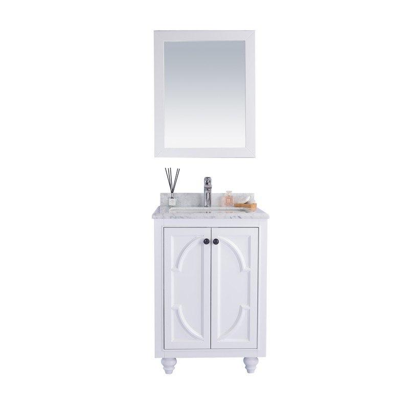 LAVIVA 313613-24W-WC ODYSSEY 24 INCH WHITE CABINET WITH WHITE CARRARA COUNTERTOP
