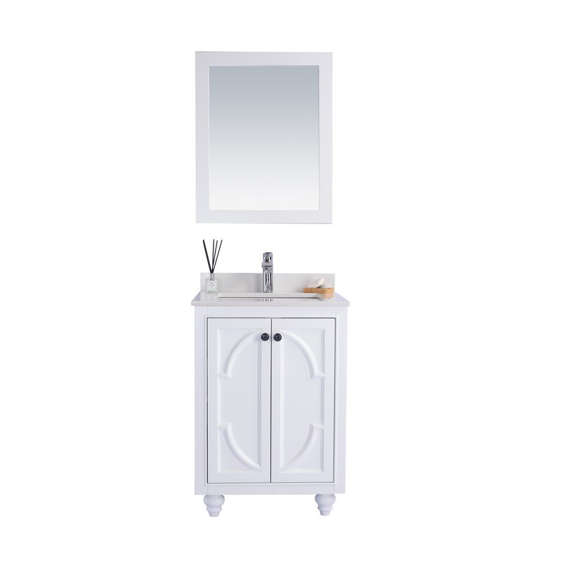LAVIVA 313613-24W-WQ ODYSSEY 24 INCH WHITE CABINET WITH WHITE QUARTZ COUNTERTOP