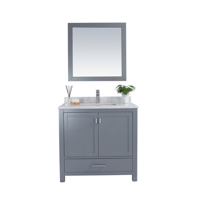 LAVIVA 313ANG-36G-WC WILSON 36 INCH GREY CABINET WITH WHITE CARRARA COUNTERTOP