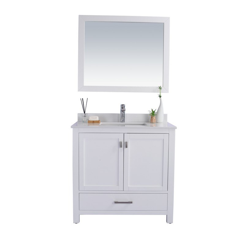 LAVIVA 313ANG-36W-WQ WILSON 36 INCH WHITE CABINET WITH WHITE QUARTZ COUNTERTOP