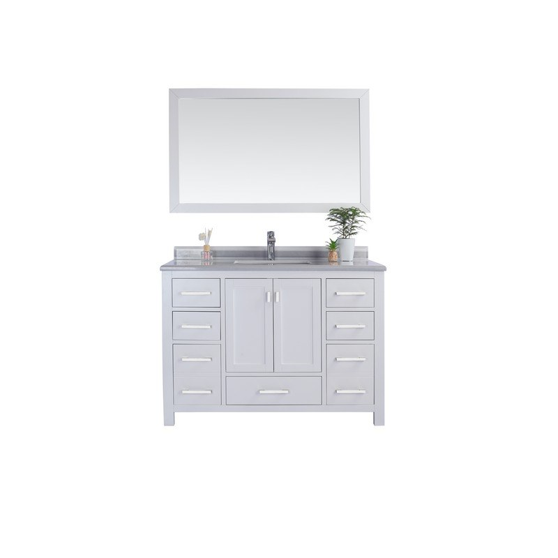 LAVIVA 313ANG-48W-WS WILSON 48 INCH WHITE CABINET WITH WHITE STRIPE COUNTERTOP