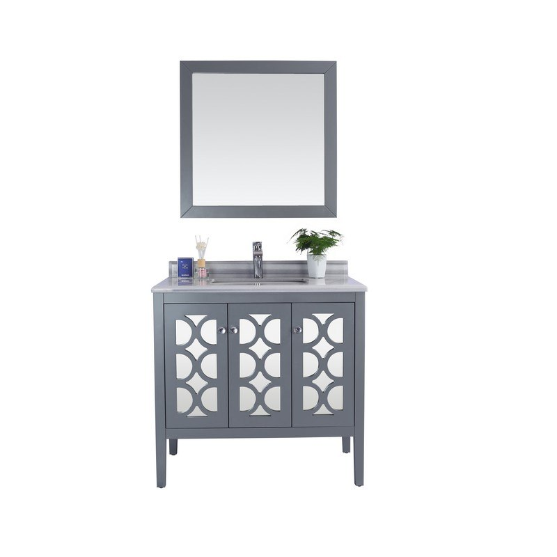 LAVIVA 313MKSH-36G-WS MEDITERRANEO 36 INCH GREY CABINET WITH WHITE STRIPES COUNTERTOP