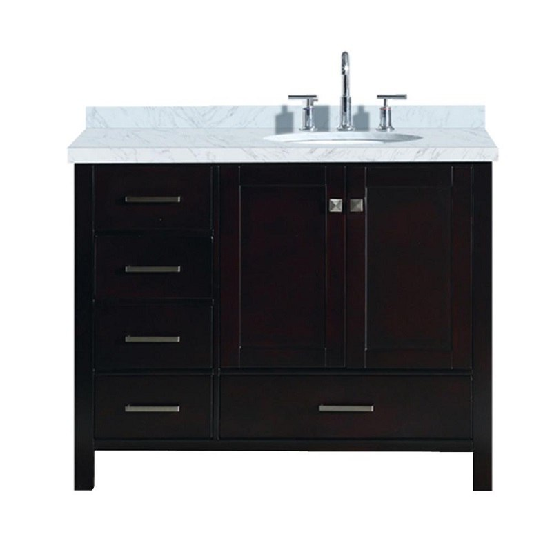 ARIEL A043S-R-VO CAMBRIDGE 43 INCH RIGHT OFFSET SINGLE OVAL SINK VANITY