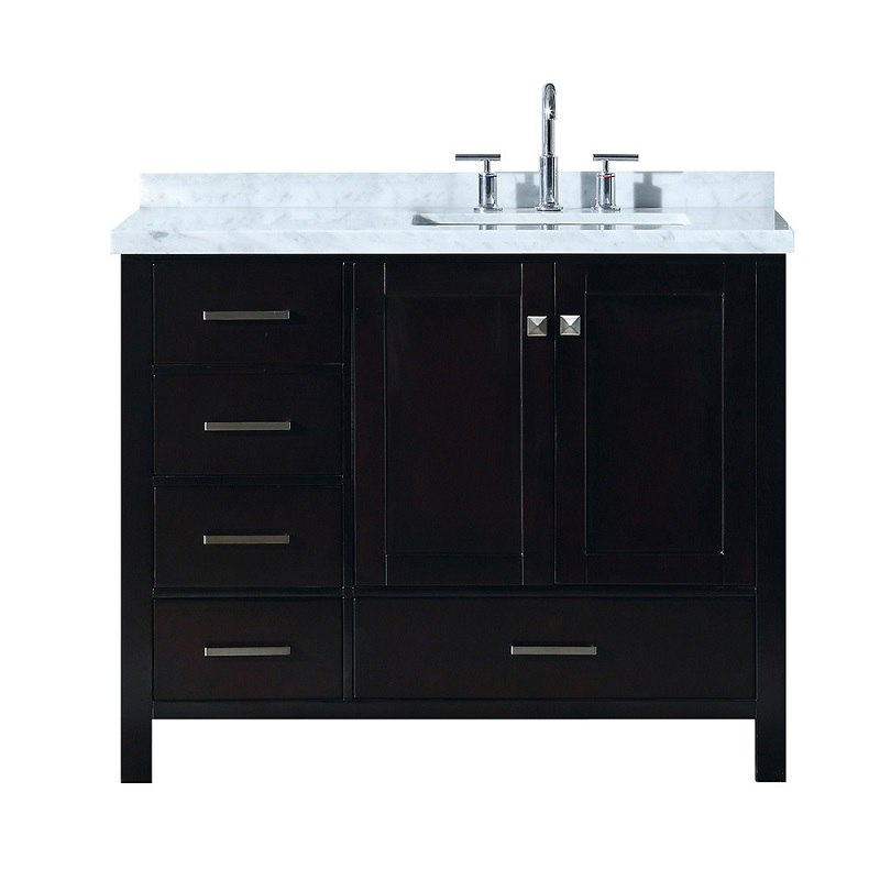 ARIEL A043SRCWRVO CAMBRIDGE 43 INCH RIGHT OFFSET SINGLE RECTANGLE SINK VANITY