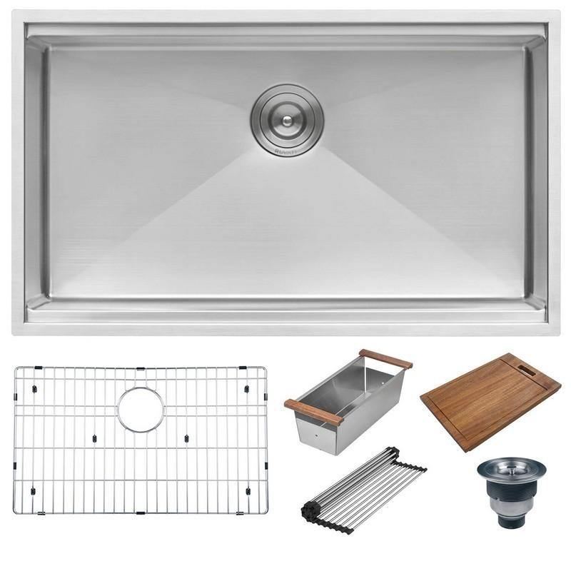 Ruvati RVH8301 Urbana 32-Inch Workstation Ledge Tight Radius Undermount 16  Gauge Single Bowl Kitchen Sink
