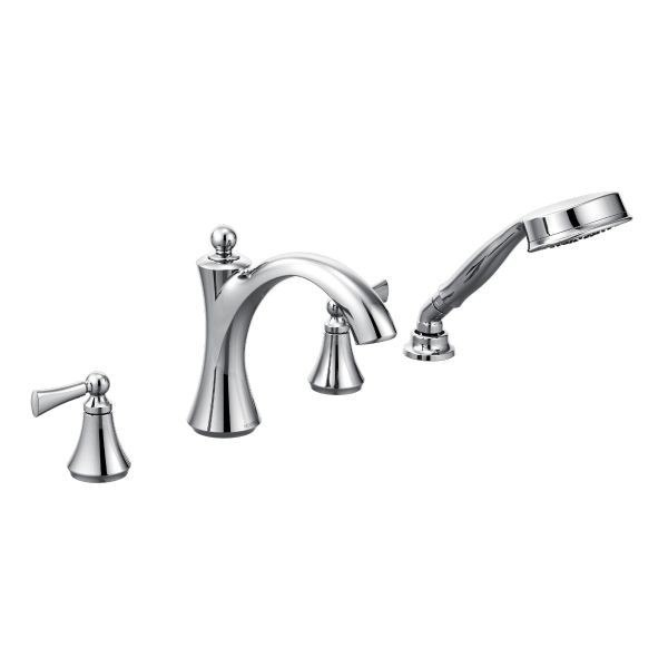 MOEN T654 WYNFORD TWO-HANDLE ROMAN TUB FILLER WITH HANDSHOWER