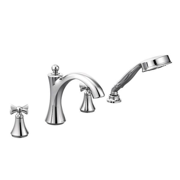 MOEN T658 WYNFORD TWO-HANDLE ROMAN TUB FILLER WITH HANDSHOWER