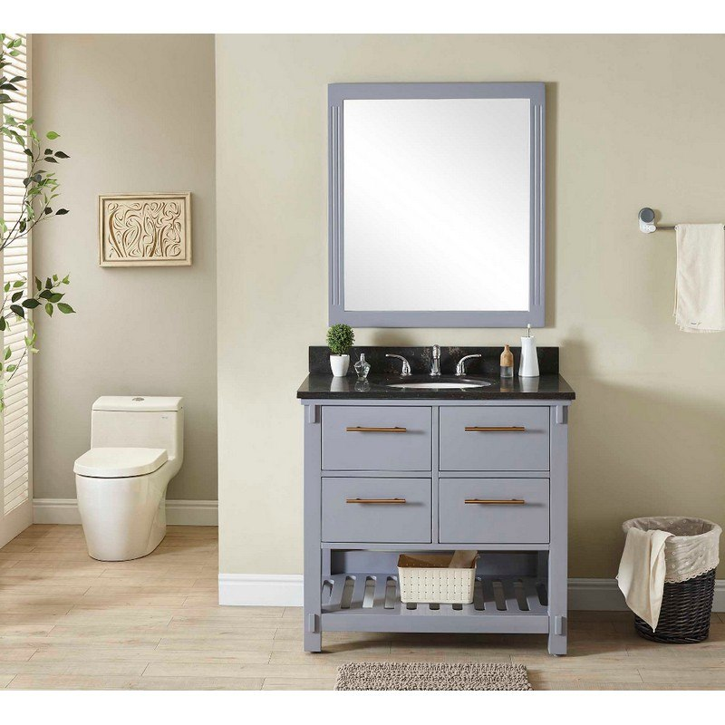 INFURNITURE IN3836-G+WK TOP 36 INCH SINGLE SINK BATHROOM VANITY IN GREY WITH LIMESTONE TOP