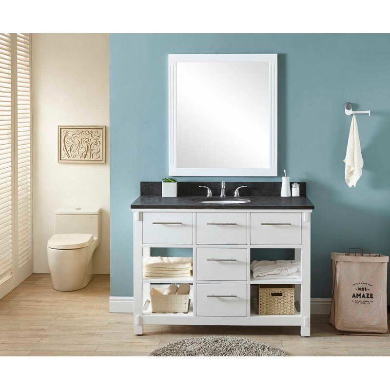 INFURNITURE IN3848-W+WK TOP 48 INCH SINGLE SINK BATHROOM VANITY IN WHITE WITH LIMESTONE TOP