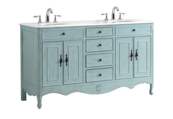 Modetti Mod081lb 60 Provence 60 Double Bathroom Vanity Set In Light Blue