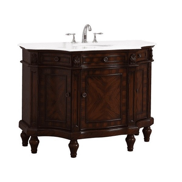 Modetti Mod110302w Napoleon 48 Inch Bathroom Vanity Set In Brown With White Marble Countertop