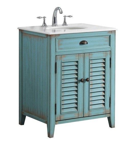 Modetti Mod884bl 26 Palm Beach 26 Inch Single Bathroom Vanity Set In Blue