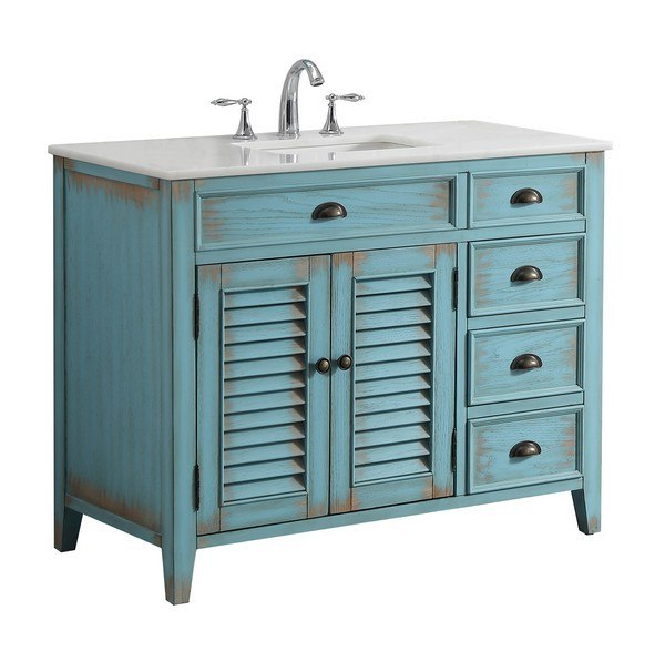 Modetti MOD884BL-42 Palm Beach 42 Inch Single Bathroom Vanity Set in Blue