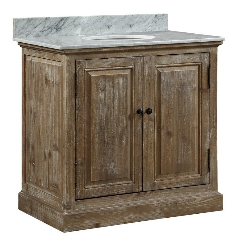 INFURNITURE WK1836+CW TOP 36 INCH SOLID RECYCLED FIR SINK VANITY WITH CARRARA WHITE MARBLE TOP