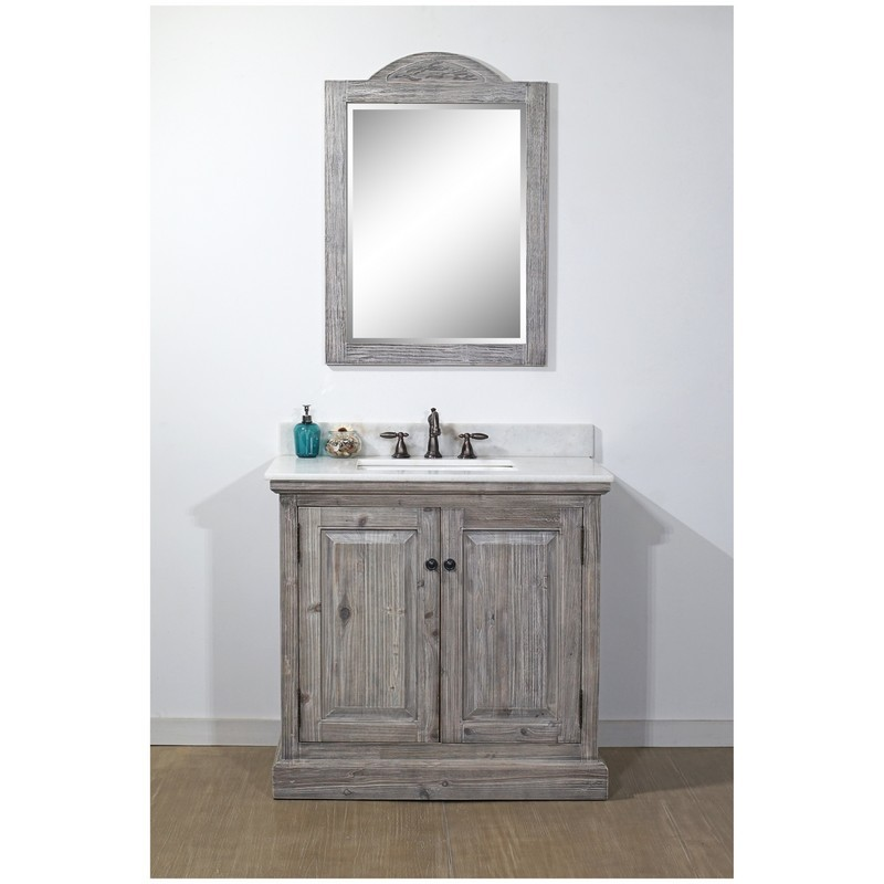 INFURNITURE WK1836-G+AP TOP 36 INCH RUSTIC SOLID FIR SINGLE SINK VANITY IN GREY DRIFTWOOD WITH ARCTIC PEARL QUARTZ MARBLE TOP