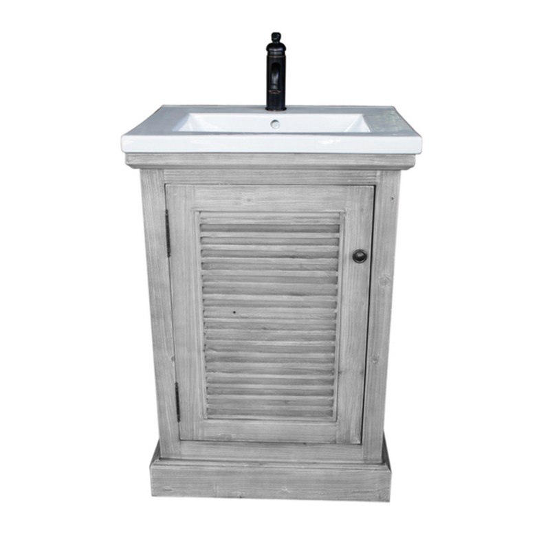 Infurniture Wk1924 G 24 Inch Rustic Solid Fir Vanity With Ceramic Single Sink In Grey Driftwood