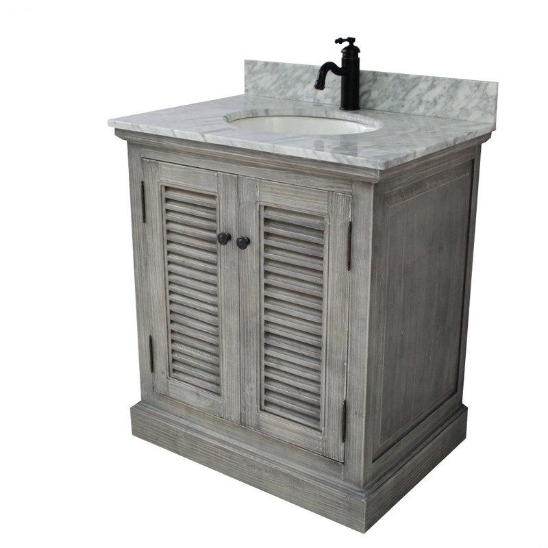 Infurniture Wk1931 G Cw Top 30 Inch Rustic Solid Fir Single Sink Vanity In Grey