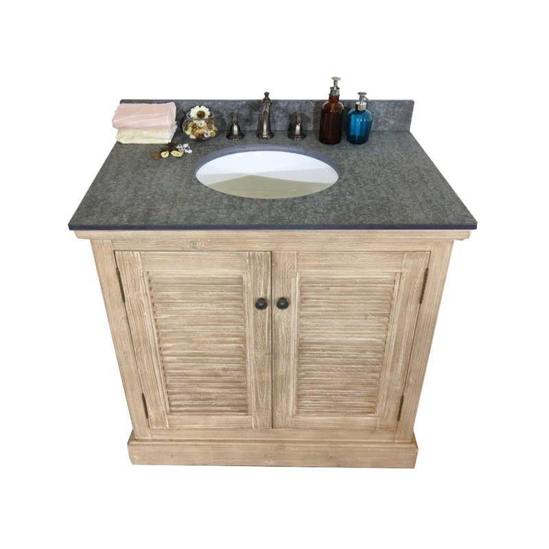 INFURNITURE WK1936+MG TOP 36 INCH SOLID WOOD SINGLE SINK VANITY WITH POLISHED TEXTURED SURFACE GRANITE TOP