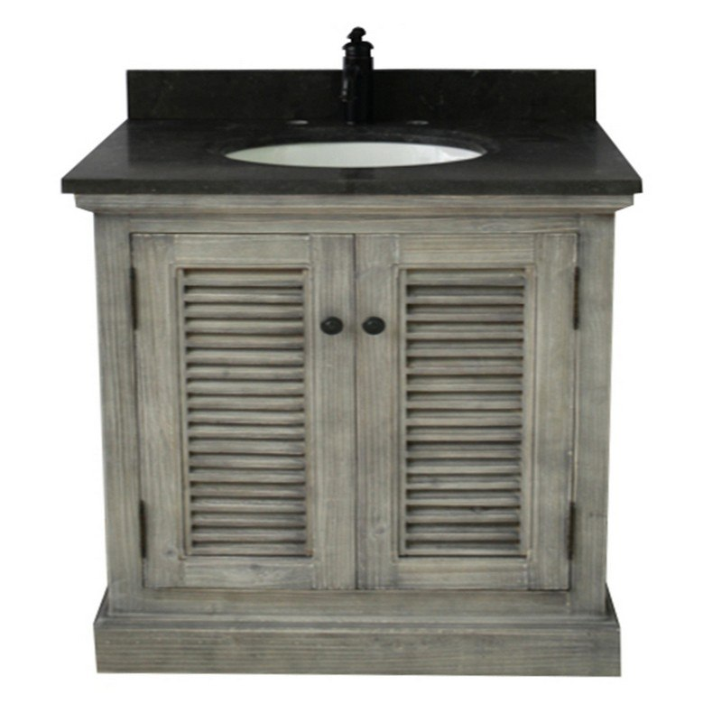 INFURNITURE WK1936-G+WK TOP 36 INCH RUSTIC SOLID FIR SINGLE SINK VANITY IN GREY DRIFTWOOD WITH LIMESTONE TOP