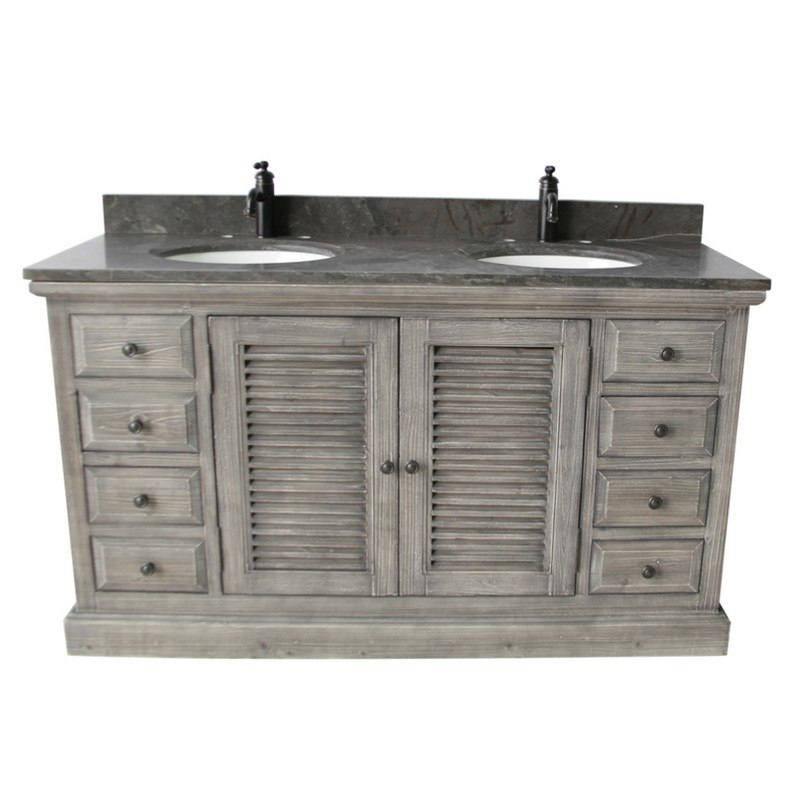 Infurniture Wk1960 G Wk Top 60 Inch Rustic Solid Fir Double Sinks