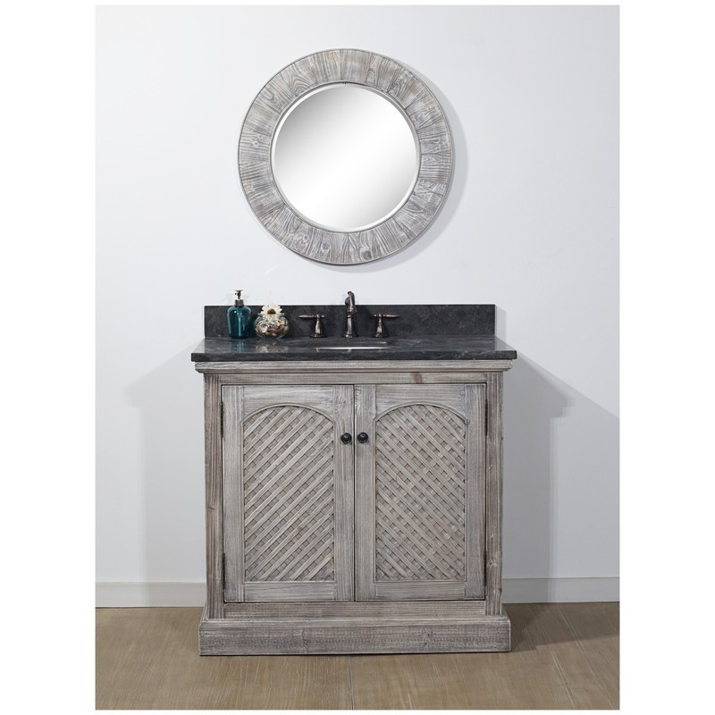 INFURNITURE WK8136-G+WK TOP 36 INCH RUSTIC SOLID FIR SINGLE SINK VANITY IN GREY DRIFTWOOD WITH LIMESTONE TOP